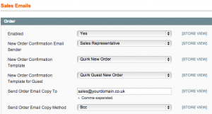 Assigning the Magento Sales Email templates